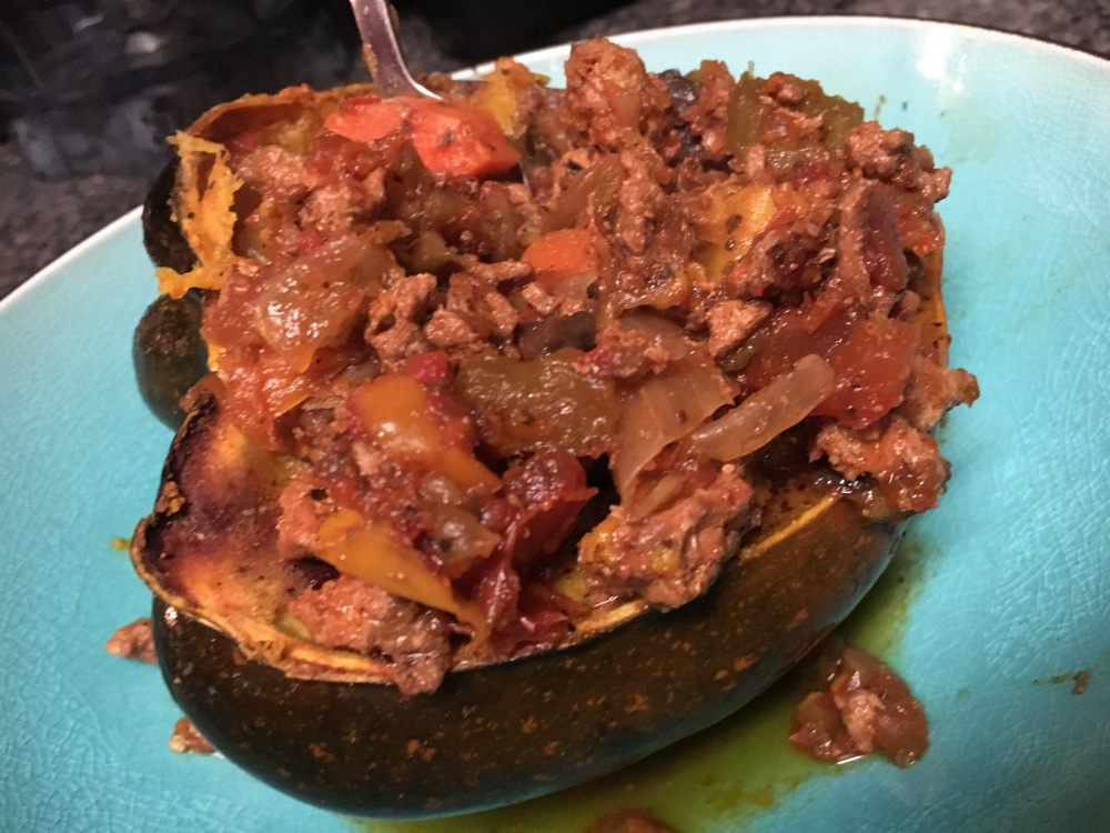 Acorn squash topped with chili