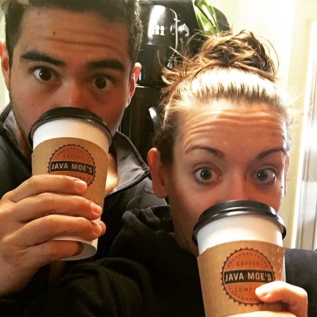 Zach and Steph with Java Moe's coffee
