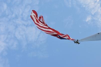 American flag from below