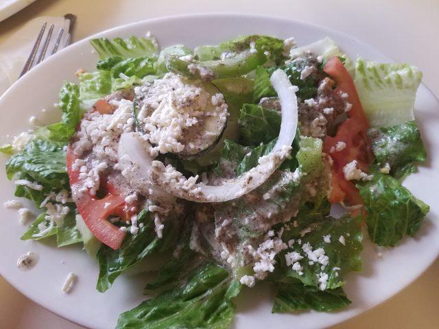 Side salad at Petra Cafe