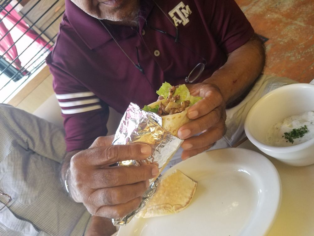 Zach's dad enjoying a gyro
